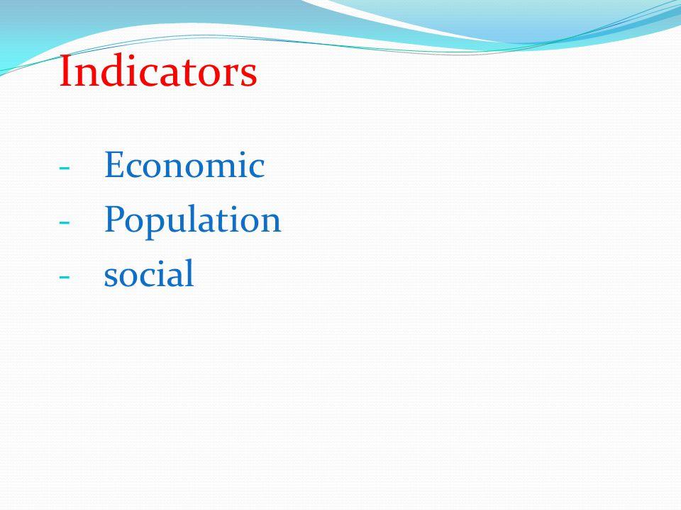 Indicators - Economic - Population - social