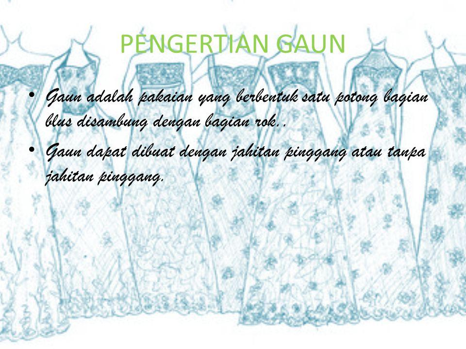 Contoh gaun Ini adalah contoh gaun potong miring, Dan dengan belahan yang cukup tinggi, dan dengan garis princes.