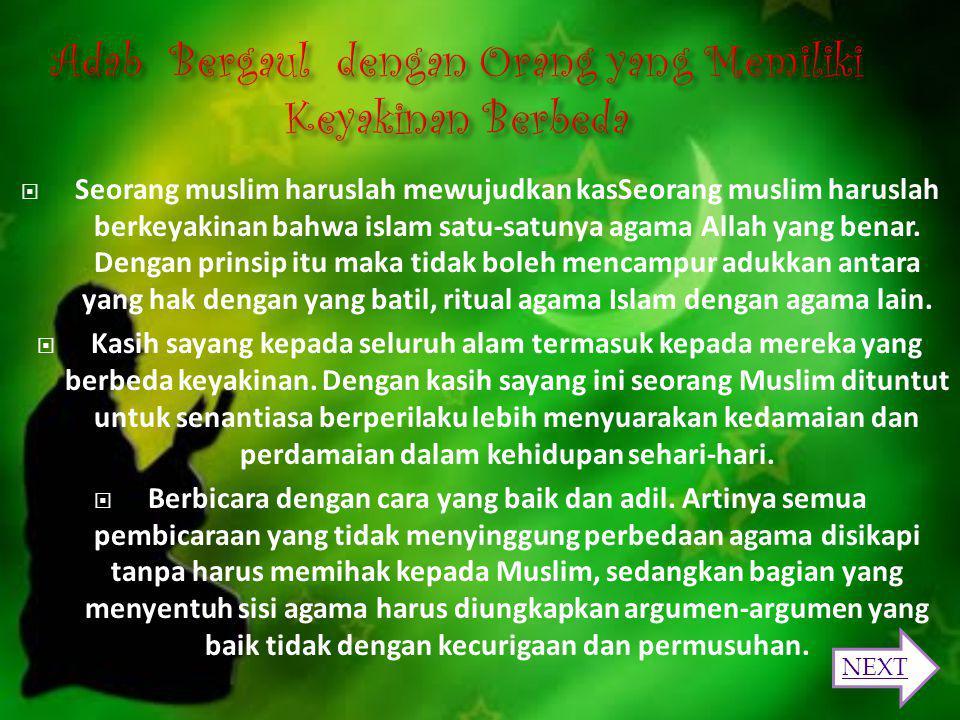 1. Menghormati perbedaan 2. Tidak dalam masalah agama 3. Tidak ada toleransi dalam syariat 4. Tidak ada toleransi dalam ibadah 5. Tidak ada toleransi