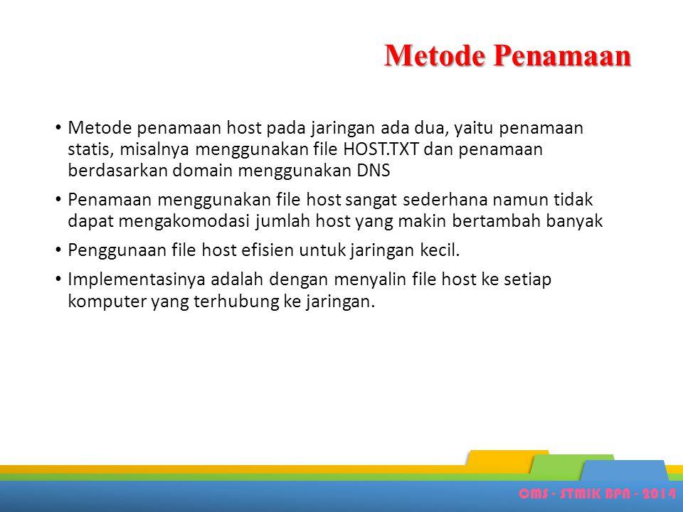 CMS - STMIK BPN - 2014 Metode Penamaan • Metode penamaan host pada jaringan ada dua, yaitu penamaan statis, misalnya menggunakan file HOST.TXT dan pen