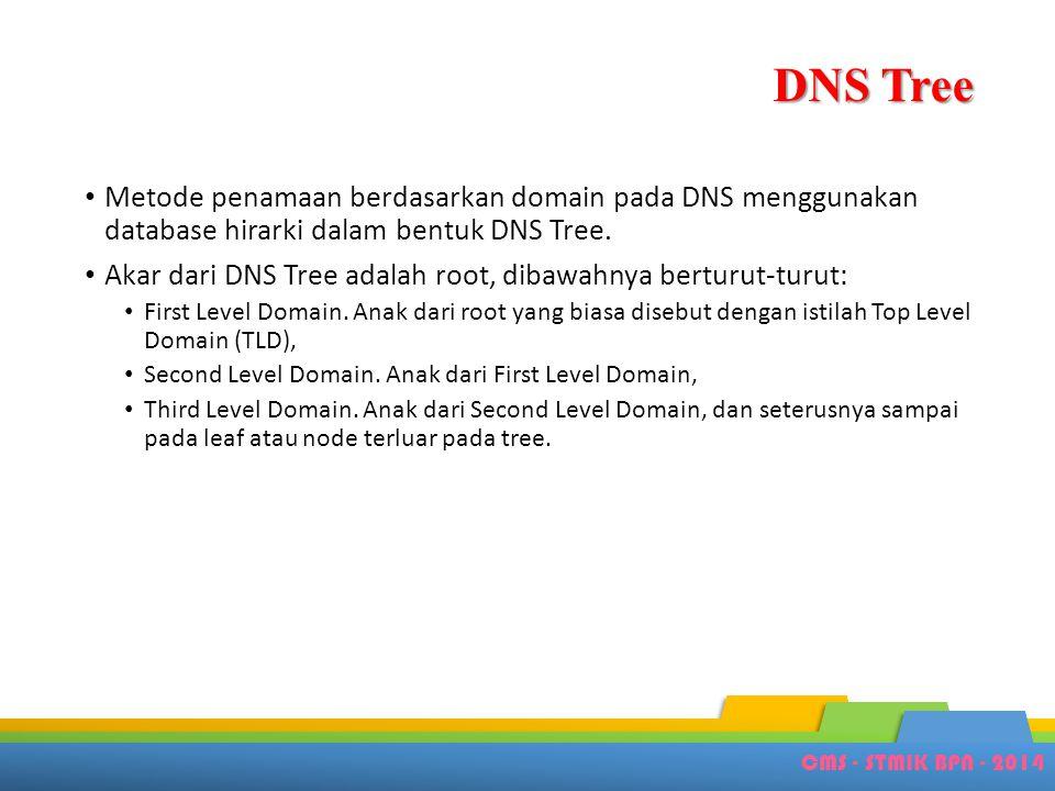 CMS - STMIK BPN - 2014 DNS Tree • Metode penamaan berdasarkan domain pada DNS menggunakan database hirarki dalam bentuk DNS Tree. • Akar dari DNS Tree