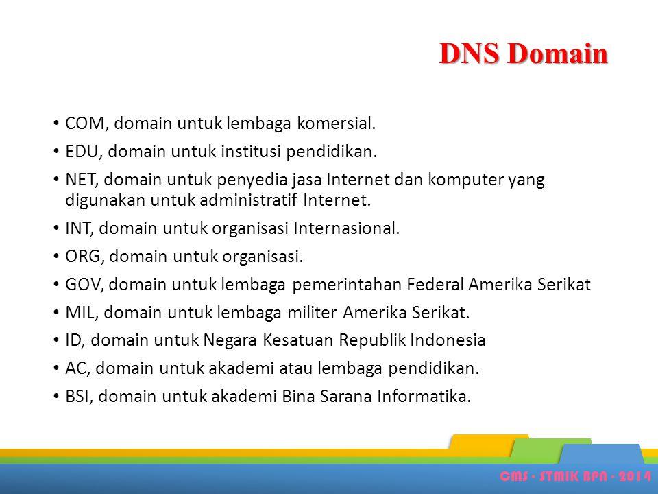 DNS Domain • COM, domain untuk lembaga komersial. • EDU, domain untuk institusi pendidikan. • NET, domain untuk penyedia jasa Internet dan komputer ya