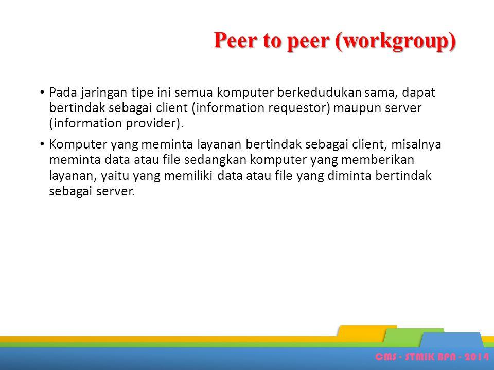 CMS - STMIK BPN - 2014 Peer to peer (workgroup) • Pada jaringan tipe ini semua komputer berkedudukan sama, dapat bertindak sebagai client (information
