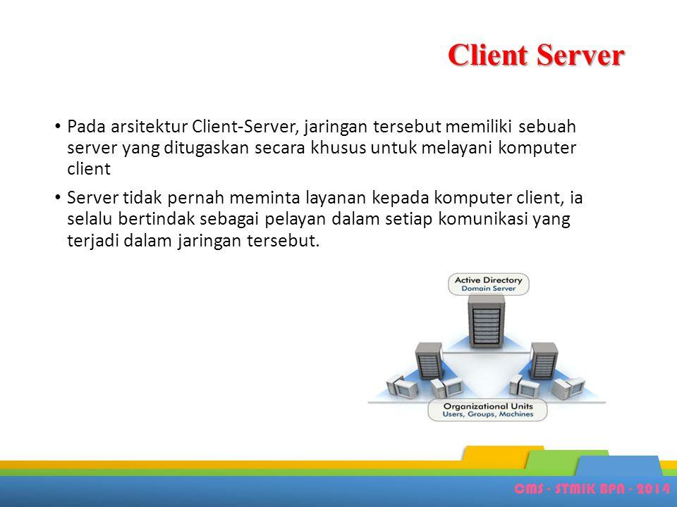 CMS - STMIK BPN - 2014 Client Server • Pada arsitektur Client-Server, jaringan tersebut memiliki sebuah server yang ditugaskan secara khusus untuk mel