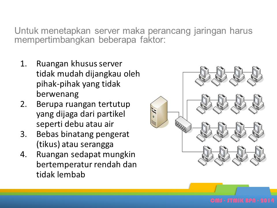 CMS - STMIK BPN - 2014 Untuk menetapkan server maka perancang jaringan harus mempertimbangkan beberapa faktor: 1.Ruangan khusus server tidak mudah dij