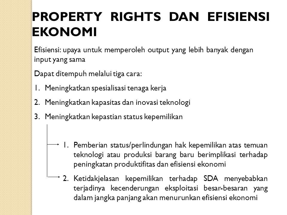 PROPERTY RIGHTS DAN EFISIENSI EKONOMI Efisiensi: upaya untuk memperoleh output yang lebih banyak dengan input yang sama Dapat ditempuh melalui tiga ca