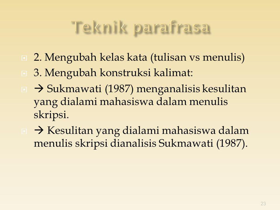  2. Mengubah kelas kata (tulisan vs menulis)  3.