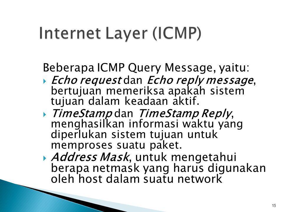 ARP (Address Resolution Protocol), digunakan untuk keperluan pemetaan IP address dengan ethernet address.