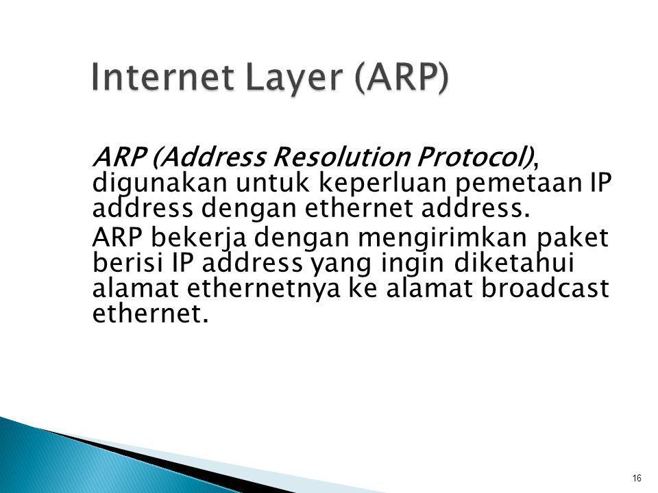  Transport Layer Merupakan layer komunikasi data yang mengatur aliran data antara dua host, untuk keperluan aplikasi di atasnya.