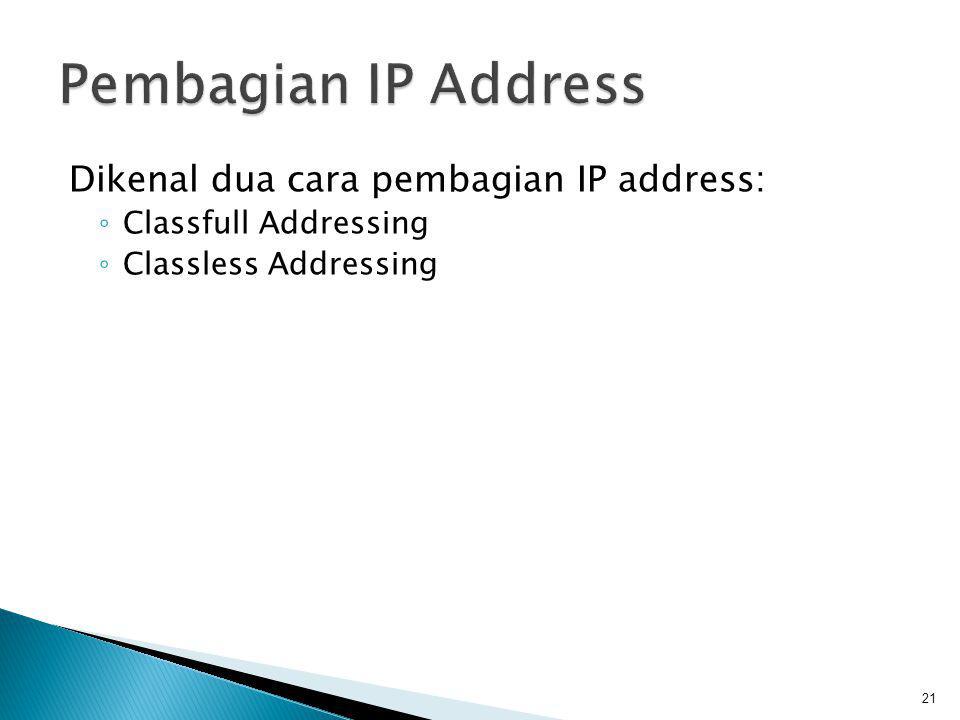  Merupakan metode pembagian IP berdasarkan kelas dimana IP Address dibagi menjadi 5 kelas ◦ Kelas A ◦ Kelas B ◦ Kelas C ◦ Kelas D ◦ Kelas E 22