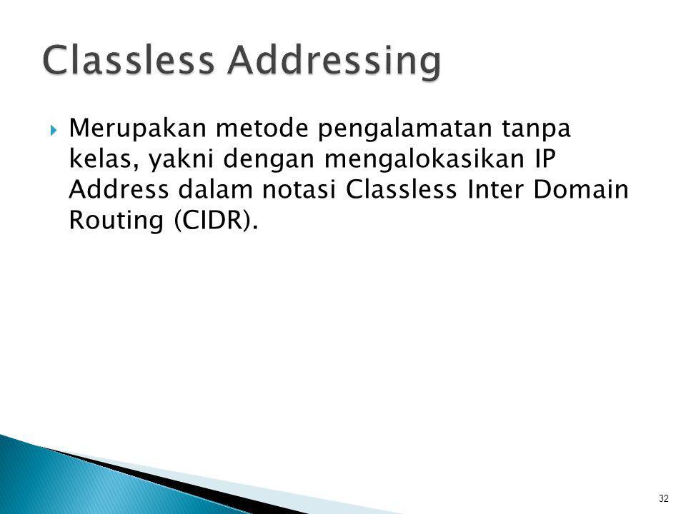  Untuk identifikasi blok CIDR diperlukan address dan mask, maka dibuat notasi yang lebih pendek : CIDR notation (slash notation)  Slash notation 128.211.168.0/21 dimana 21 menyatakan 21-bit masks 33