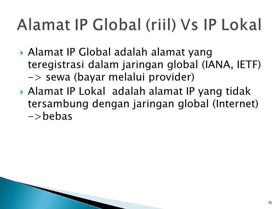 Jika sebuah organisasi ingin membangun jaringan komputer dan tidak membutuhkan terkoneksi pada jaringan internet, ada 3 pilihan untuk pembuatan alamat-alamat IP nya : 1.