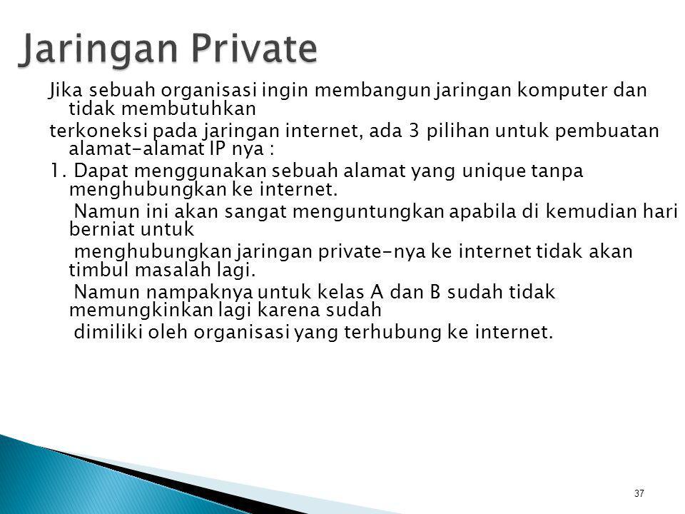 38 2.Bisa juga menggunakan sembarang alamat IP dari kelas A, B dan C.