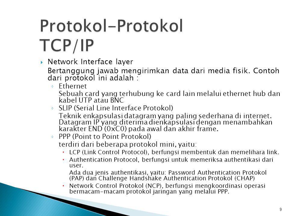  Internet Layer IP (Internet Protokol) memiliki sifat yang dikenal sebagai ◦ Unreliable Protokol IP tidak menjamin datagram yang dikirim pasti sampai ke tempat tujuan.