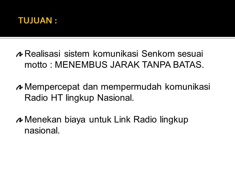 Realisasi sistem komunikasi Senkom sesuai motto : MENEMBUS JARAK TANPA BATAS. Mempercepat dan mempermudah komunikasi Radio HT lingkup Nasional. Meneka