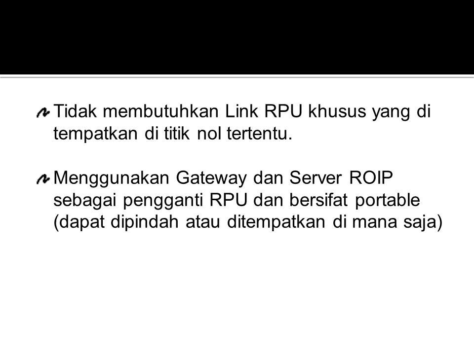 Tidak membutuhkan Link RPU khusus yang di tempatkan di titik nol tertentu. Menggunakan Gateway dan Server ROIP sebagai pengganti RPU dan bersifat port