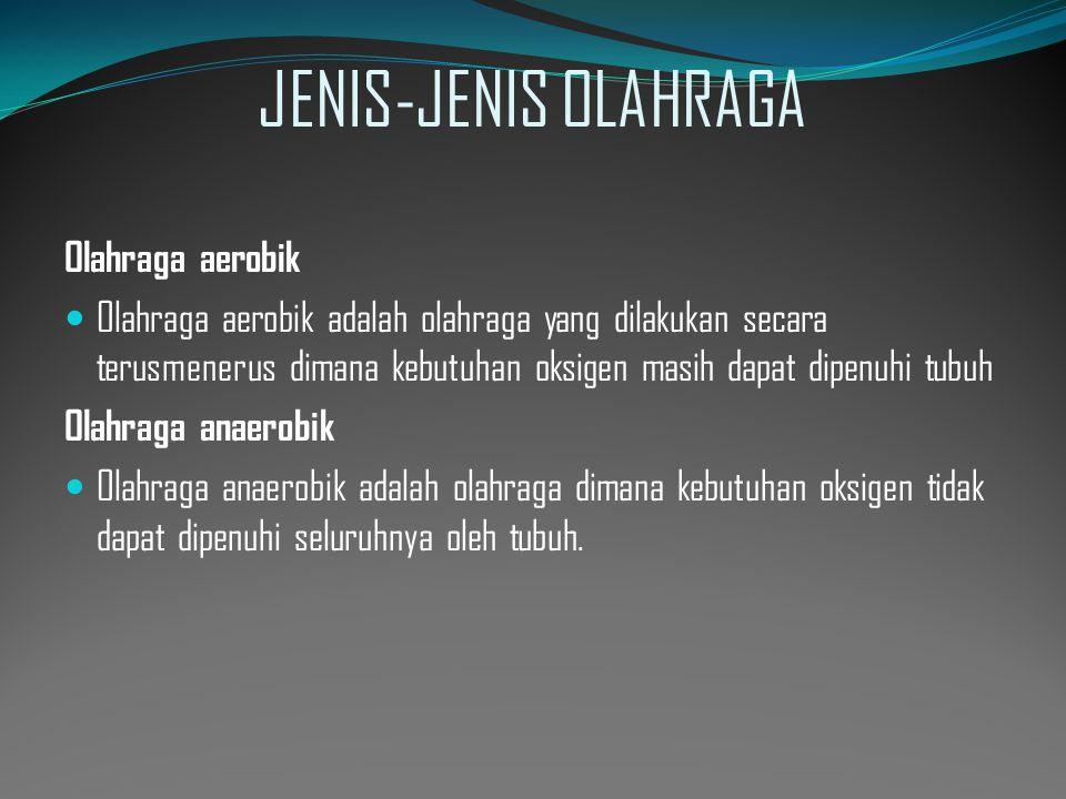 JENIS-JENIS OLAHRAGA Olahraga aerobik  Olahraga aerobik adalah olahraga yang dilakukan secara terusmenerus dimana kebutuhan oksigen masih dapat dipen
