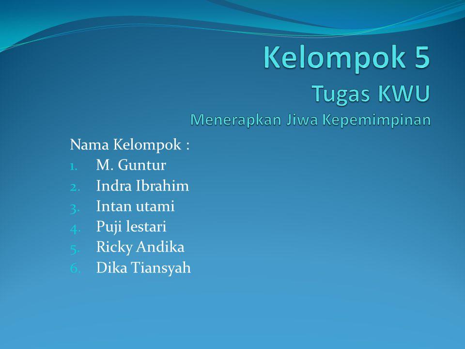 Nama Kelompok : 1. M. Guntur 2. Indra Ibrahim 3. Intan utami 4. Puji lestari 5. Ricky Andika 6. Dika Tiansyah
