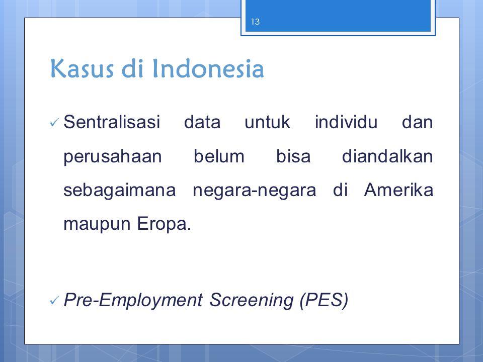 Kasus di Indonesia  Sentralisasi data untuk individu dan perusahaan belum bisa diandalkan sebagaimana negara-negara di Amerika maupun Eropa.  Pre-Em