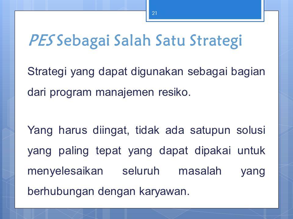 PES Sebagai Salah Satu Strategi Strategi yang dapat digunakan sebagai bagian dari program manajemen resiko. Yang harus diingat, tidak ada satupun solu