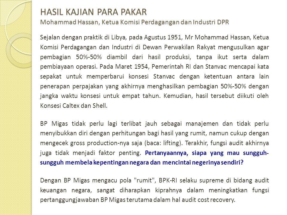 HASIL KAJIAN PARA PAKAR Mohammad Hassan, Ketua Komisi Perdagangan dan Industri DPR Sejalan dengan praktik di Libya, pada Agustus 1951, Mr Mohammad Has