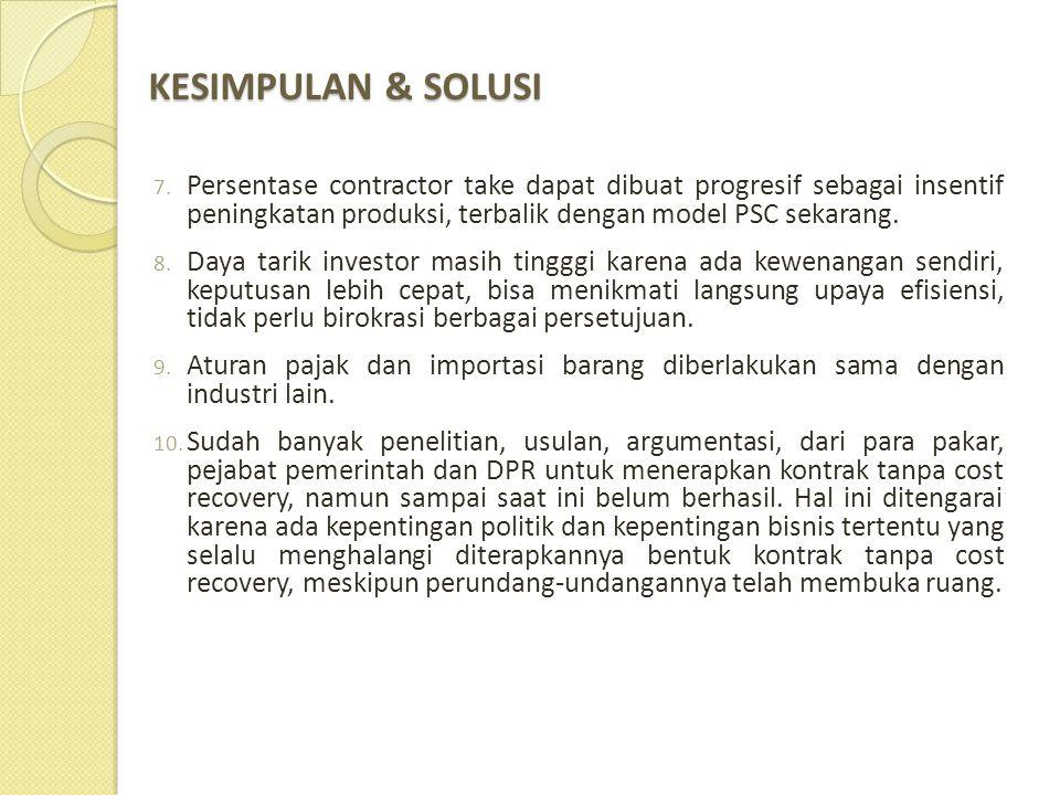 KESIMPULAN & SOLUSI 7. Persentase contractor take dapat dibuat progresif sebagai insentif peningkatan produksi, terbalik dengan model PSC sekarang. 8.