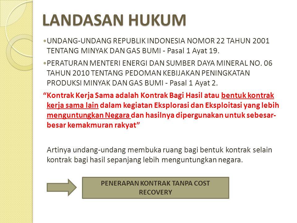 LANDASAN HUKUM  UNDANG-UNDANG REPUBLIK INDONESIA NOMOR 22 TAHUN 2001 TENTANG MINYAK DAN GAS BUMI - Pasal 1 Ayat 19.  PERATURAN MENTERI ENERGI DAN SU