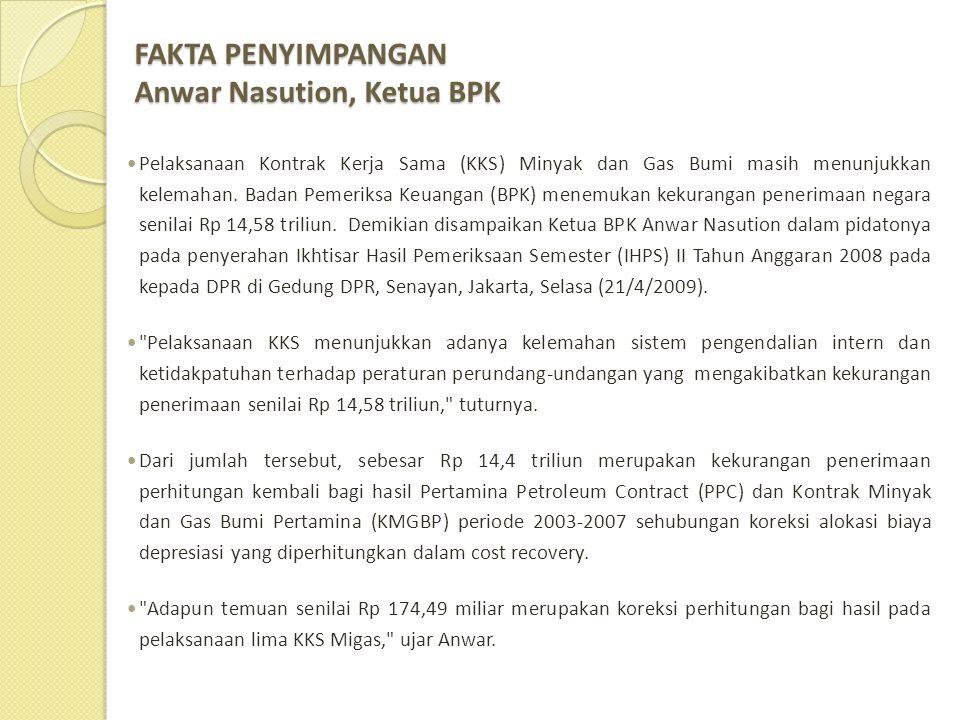 FAKTA PENYIMPANGAN Anwar Nasution, Ketua BPK  Pelaksanaan Kontrak Kerja Sama (KKS) Minyak dan Gas Bumi masih menunjukkan kelemahan. Badan Pemeriksa K