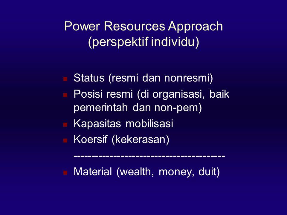 Power Resources Approach (perspektif individu)  Status (resmi dan nonresmi)  Posisi resmi (di organisasi, baik pemerintah dan non-pem)  Kapasitas mobilisasi  Koersif (kekerasan) -----------------------------------------  Material (wealth, money, duit)