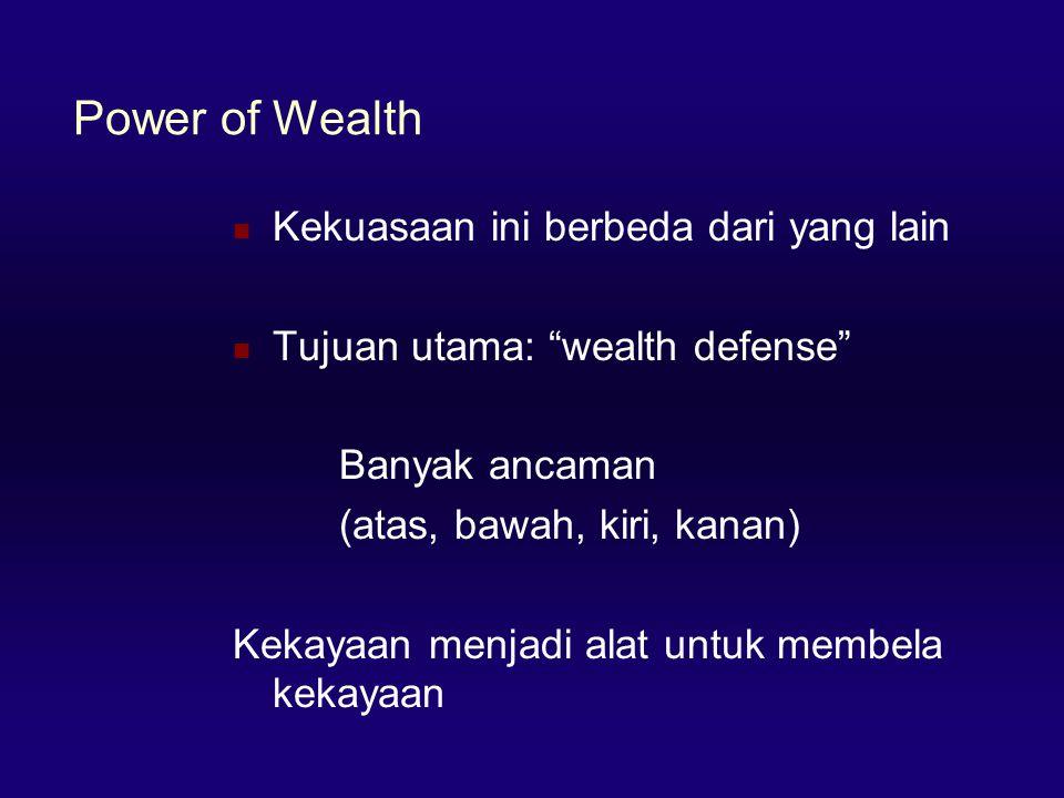 Power of Wealth  Kekuasaan ini berbeda dari yang lain  Tujuan utama: wealth defense Banyak ancaman (atas, bawah, kiri, kanan) Kekayaan menjadi alat untuk membela kekayaan
