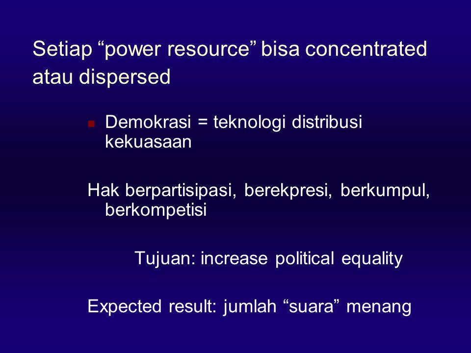 Setiap power resource bisa concentrated atau dispersed  Demokrasi = teknologi distribusi kekuasaan Hak berpartisipasi, berekpresi, berkumpul, berkompetisi Tujuan: increase political equality Expected result: jumlah suara menang