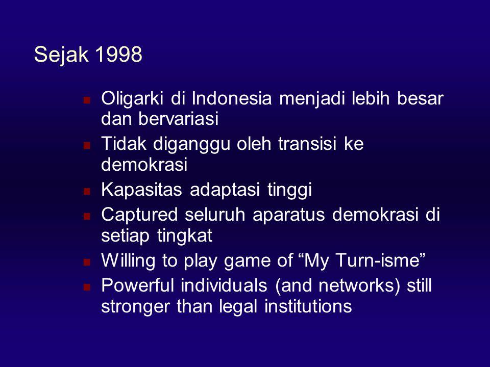 Sejak 1998  Oligarki di Indonesia menjadi lebih besar dan bervariasi  Tidak diganggu oleh transisi ke demokrasi  Kapasitas adaptasi tinggi  Captured seluruh aparatus demokrasi di setiap tingkat  Willing to play game of My Turn-isme  Powerful individuals (and networks) still stronger than legal institutions