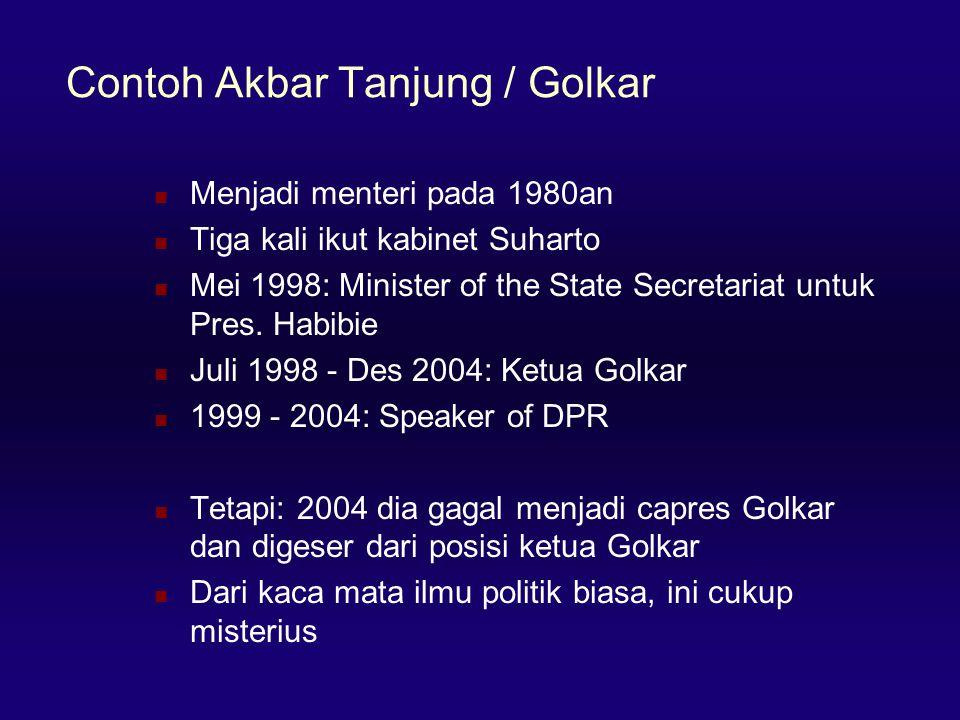 Contoh Akbar Tanjung / Golkar  Menjadi menteri pada 1980an  Tiga kali ikut kabinet Suharto  Mei 1998: Minister of the State Secretariat untuk Pres.