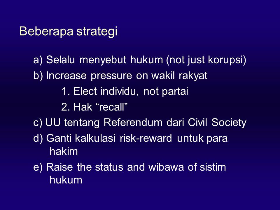 Beberapa strategi a) Selalu menyebut hukum (not just korupsi) b) Increase pressure on wakil rakyat 1.