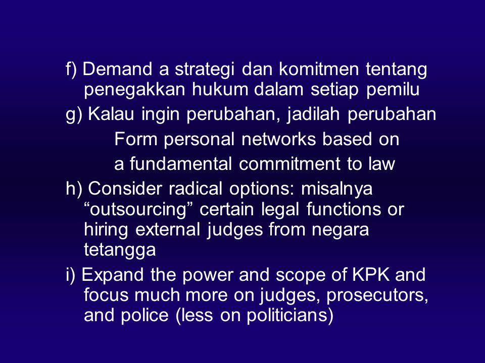 f) Demand a strategi dan komitmen tentang penegakkan hukum dalam setiap pemilu g) Kalau ingin perubahan, jadilah perubahan Form personal networks base