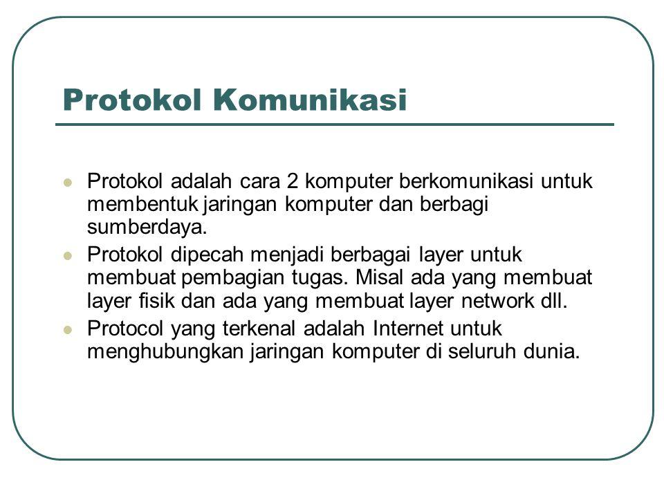 Protokol Komunikasi  Protokol adalah cara 2 komputer berkomunikasi untuk membentuk jaringan komputer dan berbagi sumberdaya.  Protokol dipecah menja