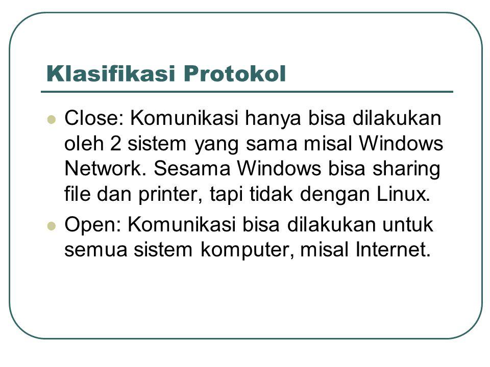 Klasifikasi Protokol  Close: Komunikasi hanya bisa dilakukan oleh 2 sistem yang sama misal Windows Network. Sesama Windows bisa sharing file dan prin