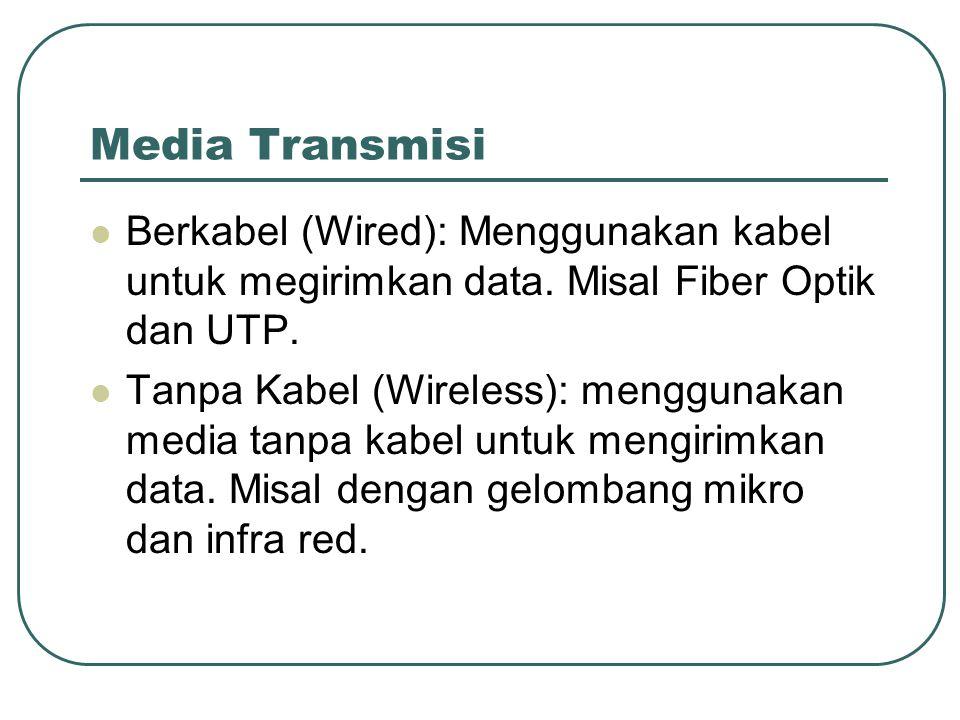 Media Transmisi  Berkabel (Wired): Menggunakan kabel untuk megirimkan data. Misal Fiber Optik dan UTP.  Tanpa Kabel (Wireless): menggunakan media ta
