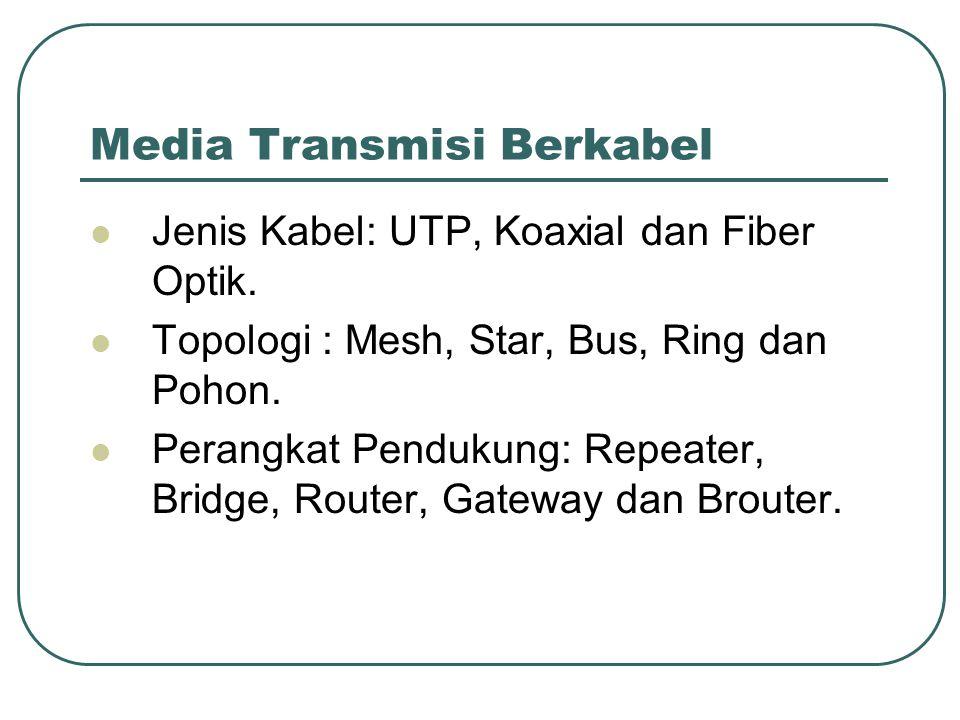 Media Transmisi Berkabel  Jenis Kabel: UTP, Koaxial dan Fiber Optik.  Topologi : Mesh, Star, Bus, Ring dan Pohon.  Perangkat Pendukung: Repeater, B