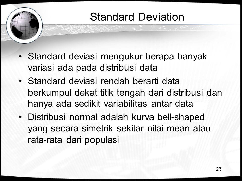 23 Standard Deviation •Standard deviasi mengukur berapa banyak variasi ada pada distribusi data •Standard deviasi rendah berarti data berkumpul dekat