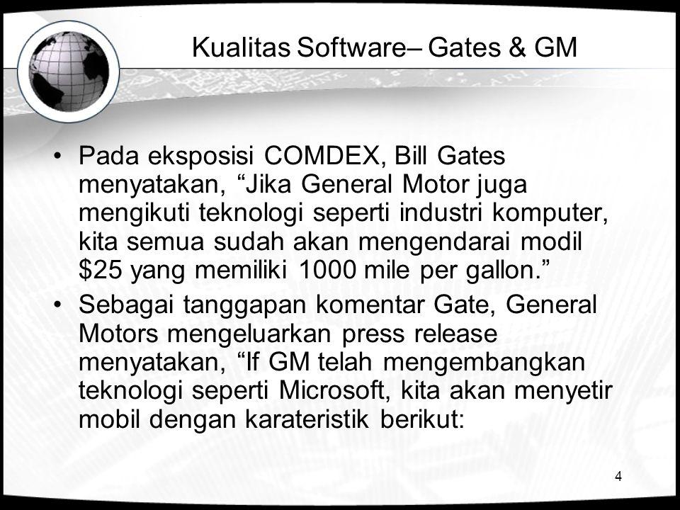 """4 Kualitas Software– Gates & GM •Pada eksposisi COMDEX, Bill Gates menyatakan, """"Jika General Motor juga mengikuti teknologi seperti industri komputer,"""