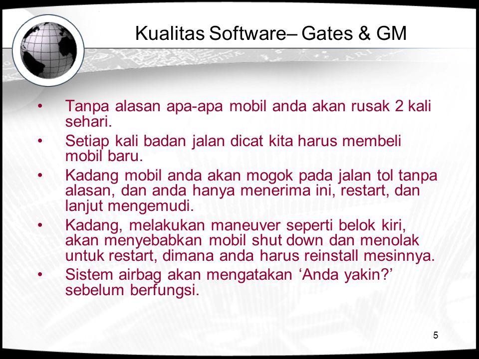 5 Kualitas Software– Gates & GM •Tanpa alasan apa-apa mobil anda akan rusak 2 kali sehari. •Setiap kali badan jalan dicat kita harus membeli mobil bar