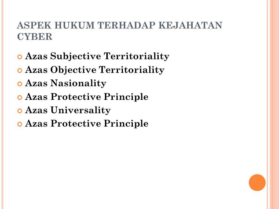 ASPEK HUKUM TERHADAP KEJAHATAN CYBER Azas Subjective Territoriality Azas Objective Territoriality Azas Nasionality Azas Protective Principle Azas Universality Azas Protective Principle