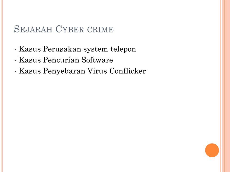 S EJARAH C YBER CRIME - Kasus Perusakan system telepon - Kasus Pencurian Software - Kasus Penyebaran Virus Conflicker