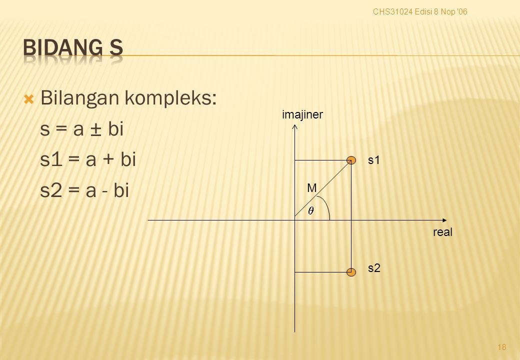  Bilangan kompleks: s = a ± bi s1 = a + bi s2 = a - bi CHS31024 Edisi 8 Nop 06 18 imajiner real s1 s2  M