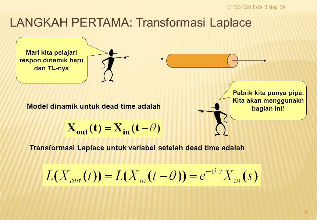 CHS31024 Edisi 8 Nop 06 30 Mari kita pelajari respon dinamik baru dan TL-nya Model dinamik untuk dead time adalah Transformasi Laplace untuk variabel setelah dead time adalah Pabrik kita punya pipa.