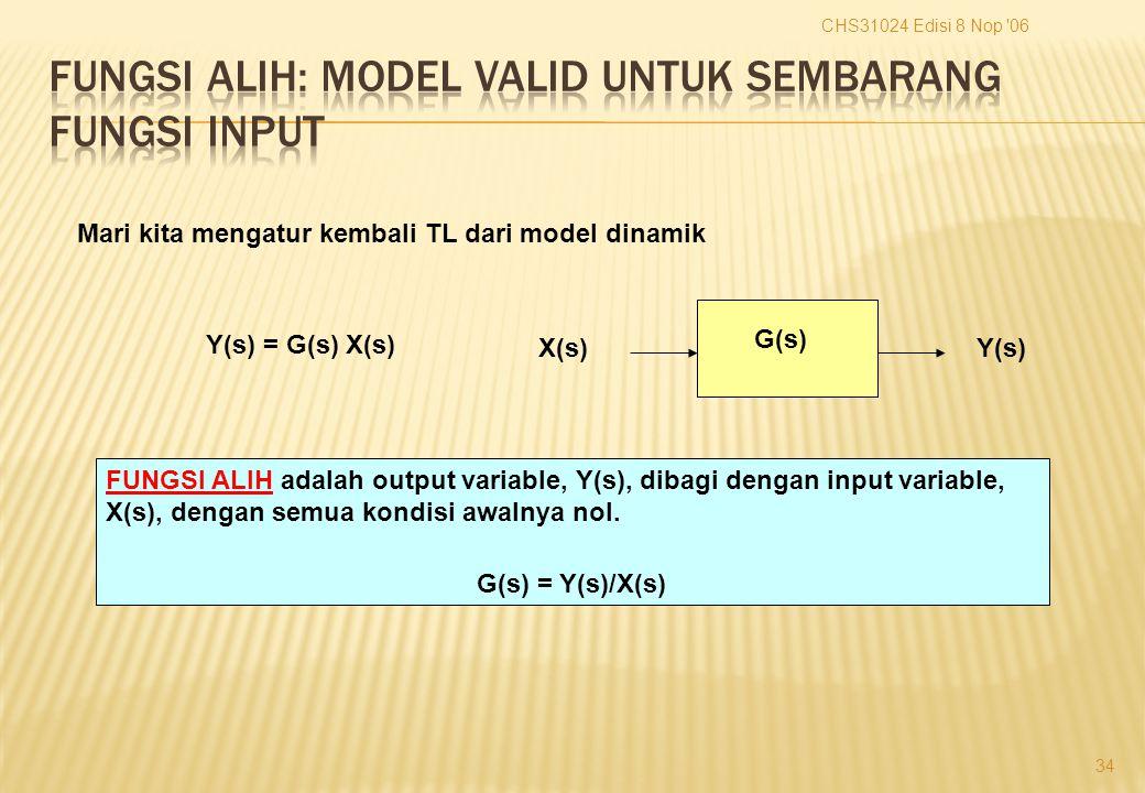 CHS31024 Edisi 8 Nop 06 34 Mari kita mengatur kembali TL dari model dinamik Y(s)X(s) G(s) Y(s) = G(s) X(s) FUNGSI ALIH adalah output variable, Y(s), dibagi dengan input variable, X(s), dengan semua kondisi awalnya nol.