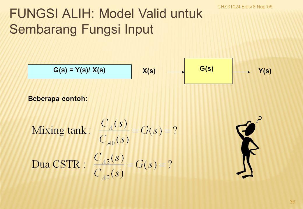 CHS31024 Edisi 8 Nop 06 36 Y(s)X(s) G(s) G(s) = Y(s)/ X(s) Beberapa contoh: FUNGSI ALIH: Model Valid untuk Sembarang Fungsi Input