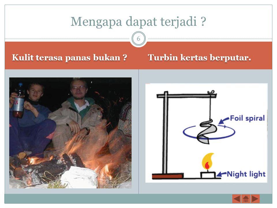 Kulit terasa panas bukan ? Turbin kertas berputar. Mengapa dapat terjadi ? 6