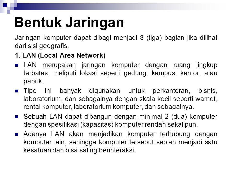Bentuk Jaringan Jaringan komputer dapat dibagi menjadi 3 (tiga) bagian jika dilihat dari sisi geografis. 1. LAN (Local Area Network)  LAN merupakan j